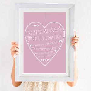 Personalised Heart Nursery Art