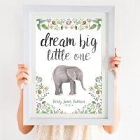 Dream Big Little One Elephant Print