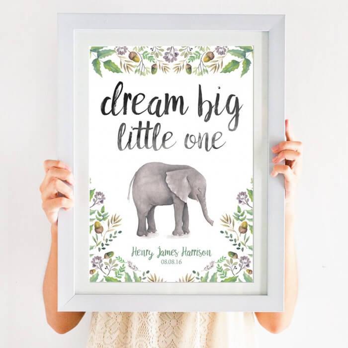 Dream Big Little One Elephant Print