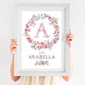 Floral Personalised Initial Print