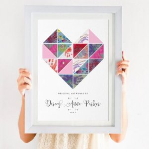 Child's Artwork Display Print Geometric Heart