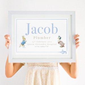 Personalised Beatrix Potter Peter Rabbit Print in blue