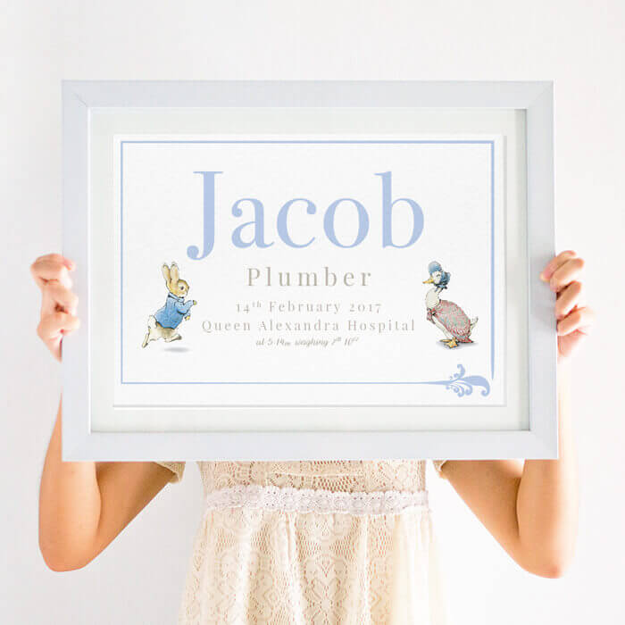 Personalised Beatrix Potter Peter Rabbit Print in blue