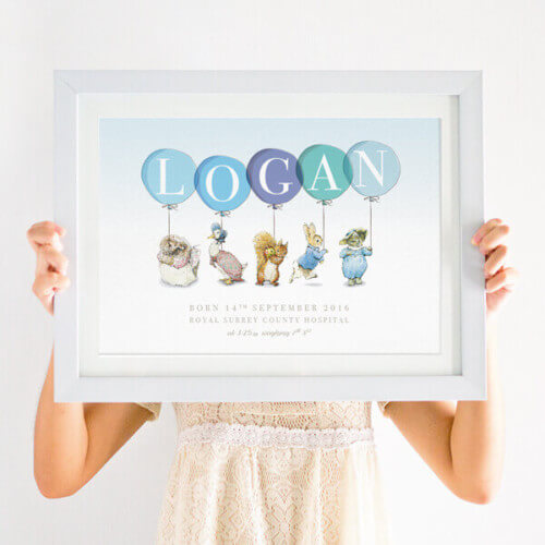 Personalised Peter Rabbit character Print