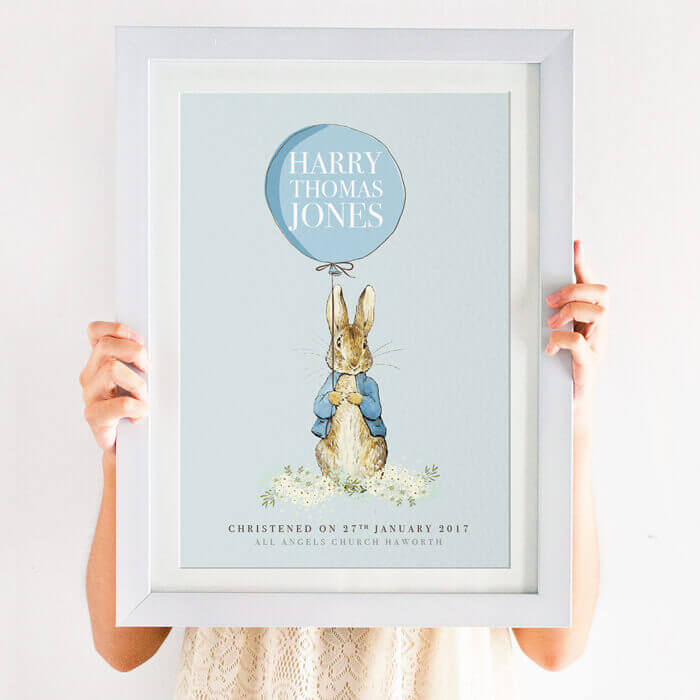 Home Décor Personalised Baby Girl Peter Rabbit Balloon Print Beatrix Potter NurseryWall Art Wall Hangings