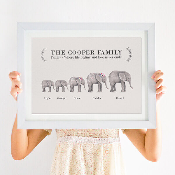 personalised elephant family print