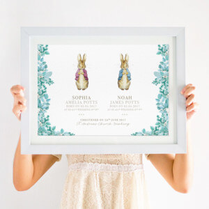 Personalised Peter Rabbit Christening Print for Twins