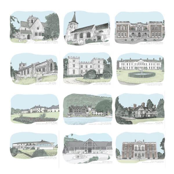 Wedding venue illustration samples