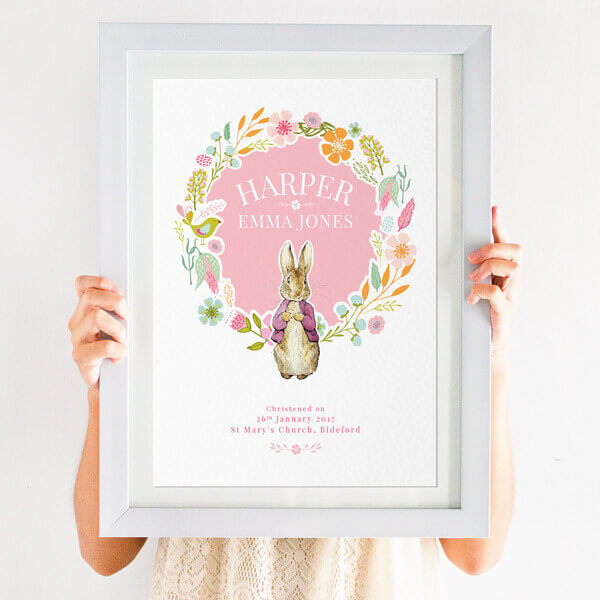 Personalised Flowery Beatrix Potter Christening Print