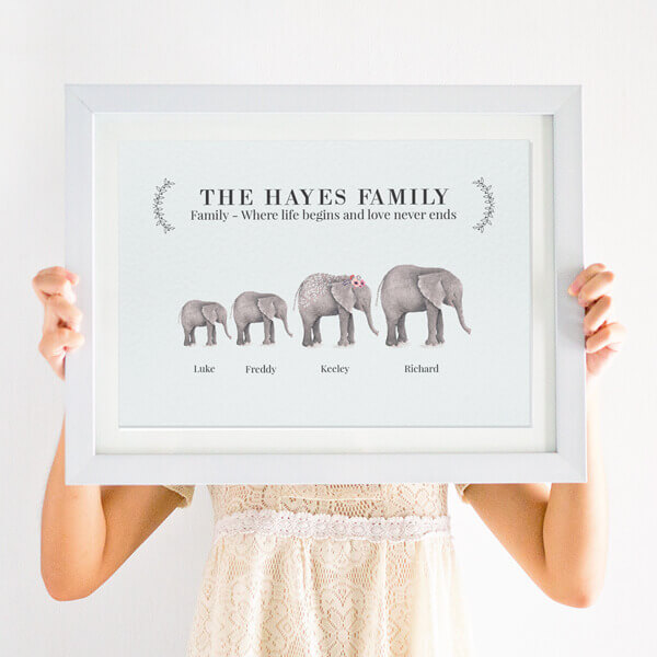 personalised elephant family print with watercolour illustrations