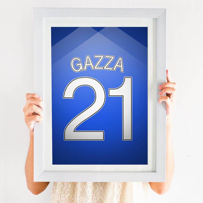 Football Shirt Print Blue Portsmouth fc