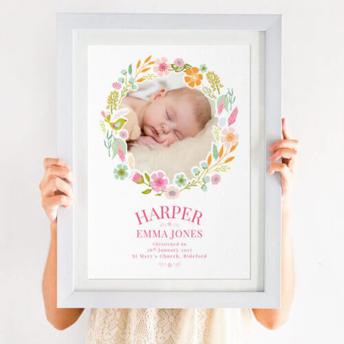 Personalised New Baby Photo Print for Girls
