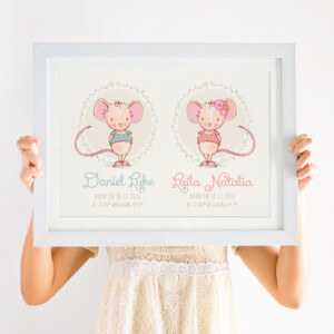 Personalised Twin Print with Little Mice