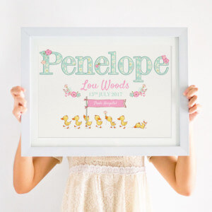 Personalised Baby Print for Newborn Girl Gift