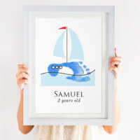personalised sail boat footprint print