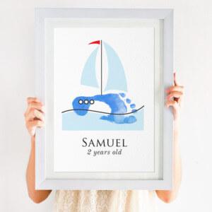 personalised sail boat footprint print