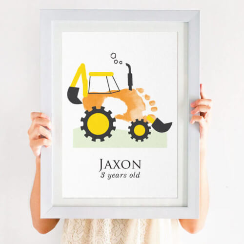 personalised digger footprint print