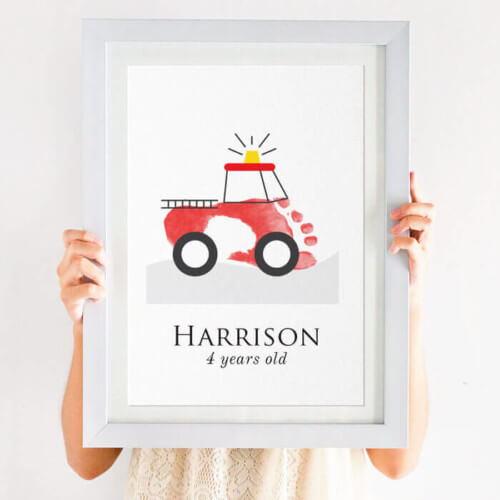 personalised fire engine footprint print