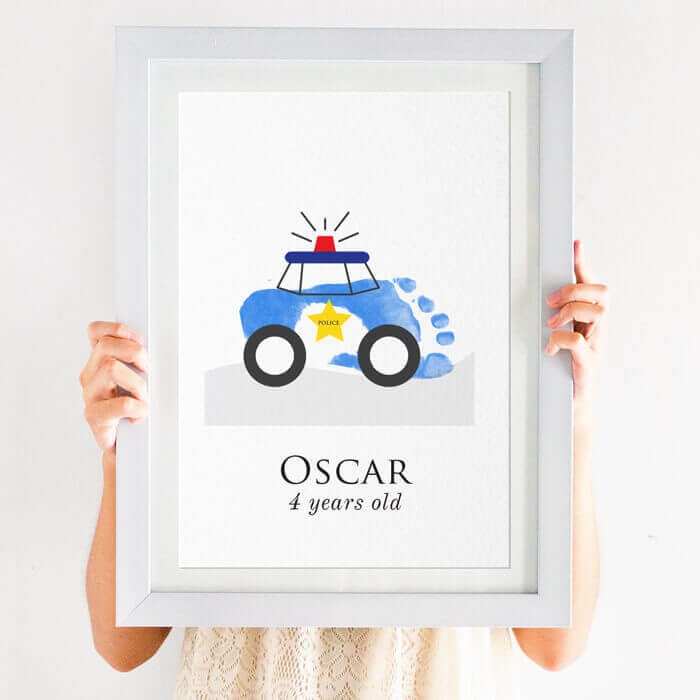 personalised police car footprint print
