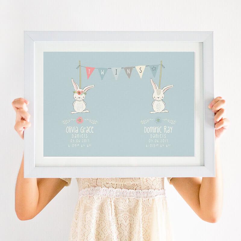 Personalised newborn twin print