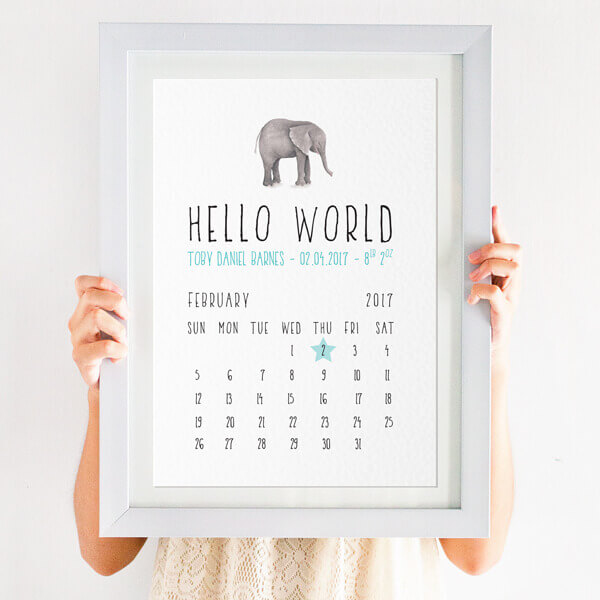 personalised elephant new baby birth details print blue