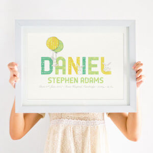 Personalised Birth Details Bunny Print for Boys