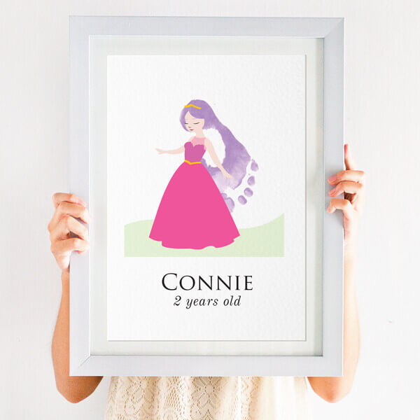 personalised footprint princess print