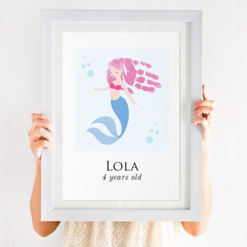 personalised handprint mermaid print