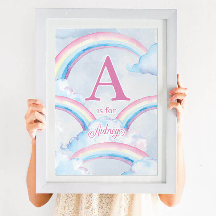 personalised pastel rainbow print