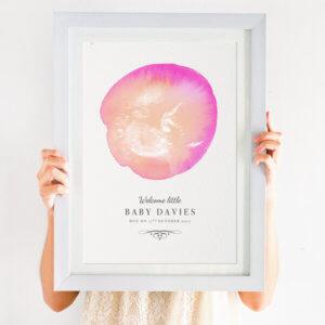 personalised watercolour baby scan print