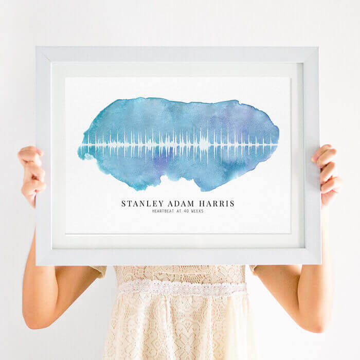 personalised baby heartbeat soundwave print