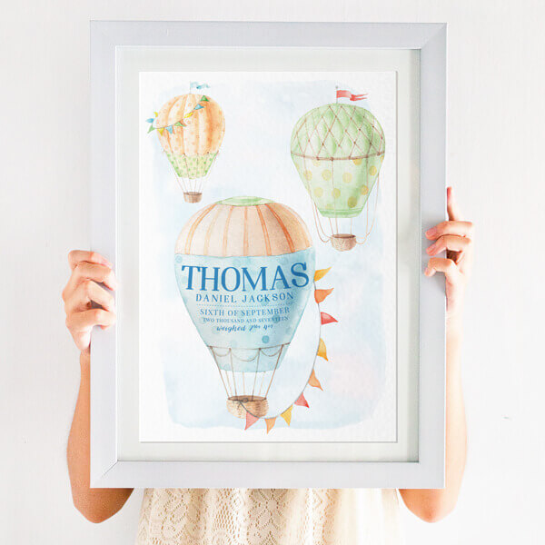 Personalised Hot Air Balloon Nursery Print in blue