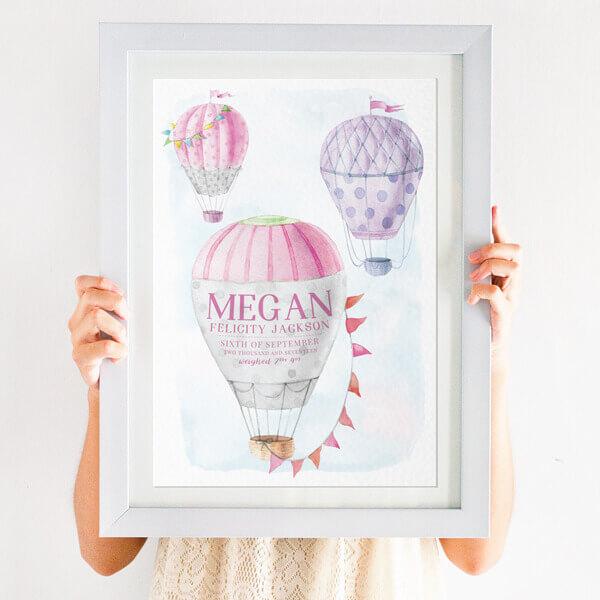 Personalised Hot Air Balloon Nursery Print