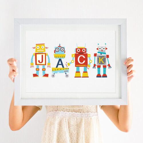 personalised robot nursery print