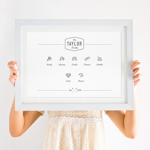 Personalised Family Couple Icon Print