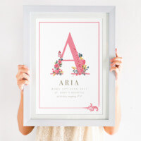 Floral Initial New Baby Print