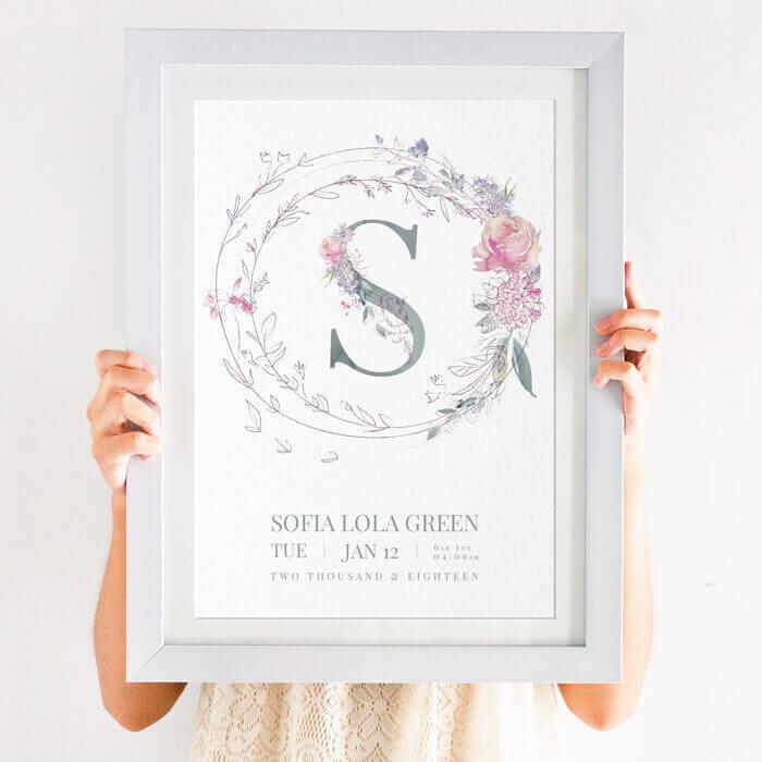 Geometric Floral Name Print