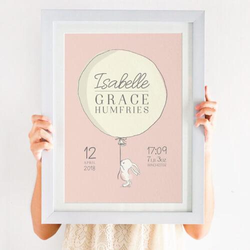Bespoke Newborn Bunny Name Print