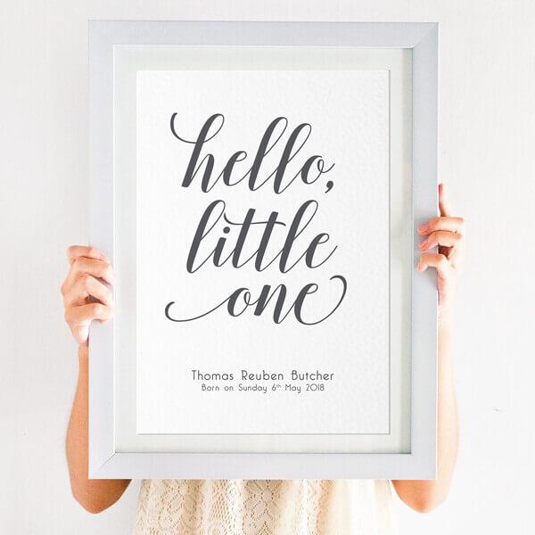 Personalised 'Hello, Little One' Nursery Print