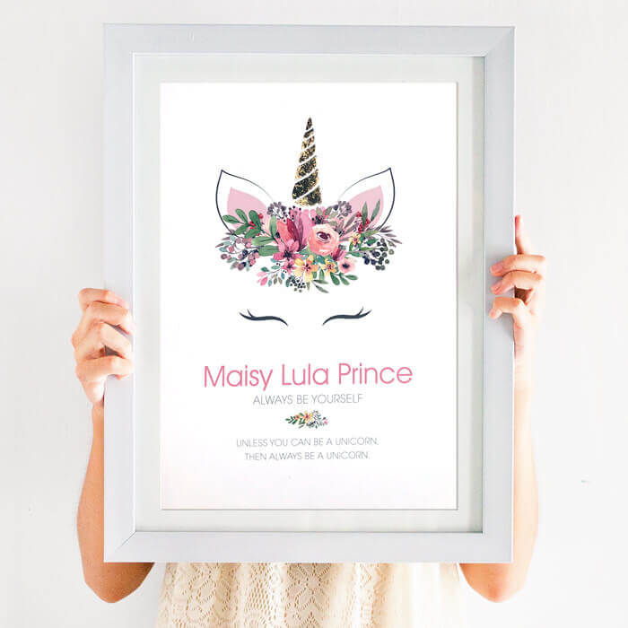 personalised unicorn foil print