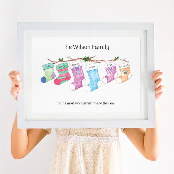 Personalised Christmas Stocking Family Print