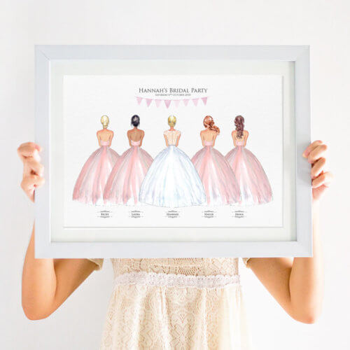 Personalised Bridesmaid Wedding Gift Print