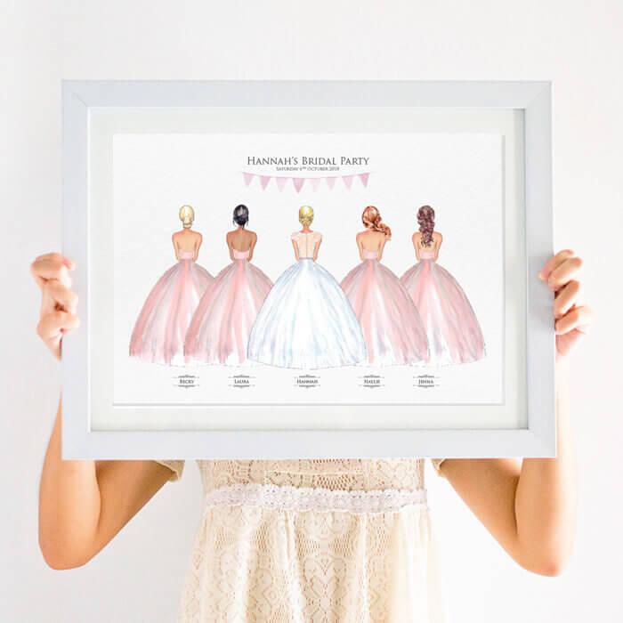 Personalised Bridesmaid Wedding Gift Print