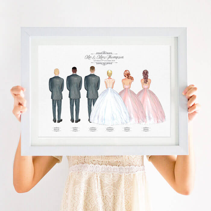 Personalised Bride's Wedding Party Print
