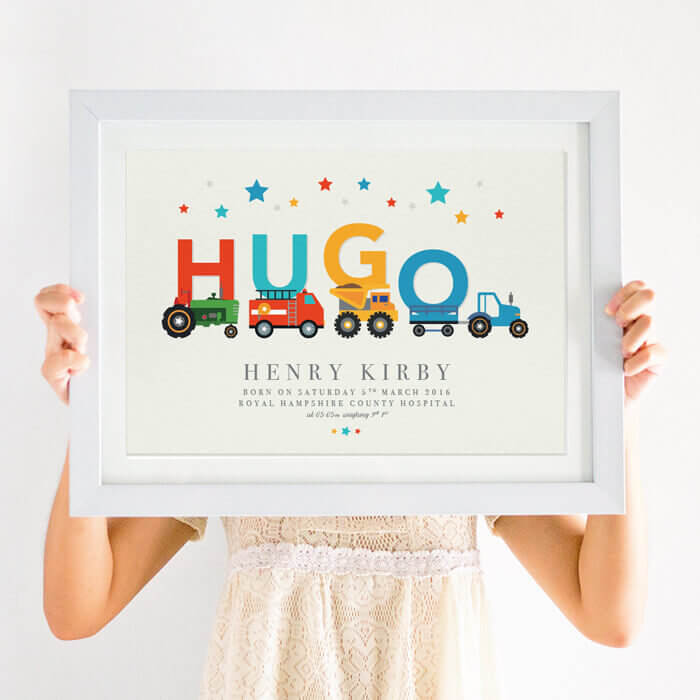 Personalised Vehicle Nursery Name Print