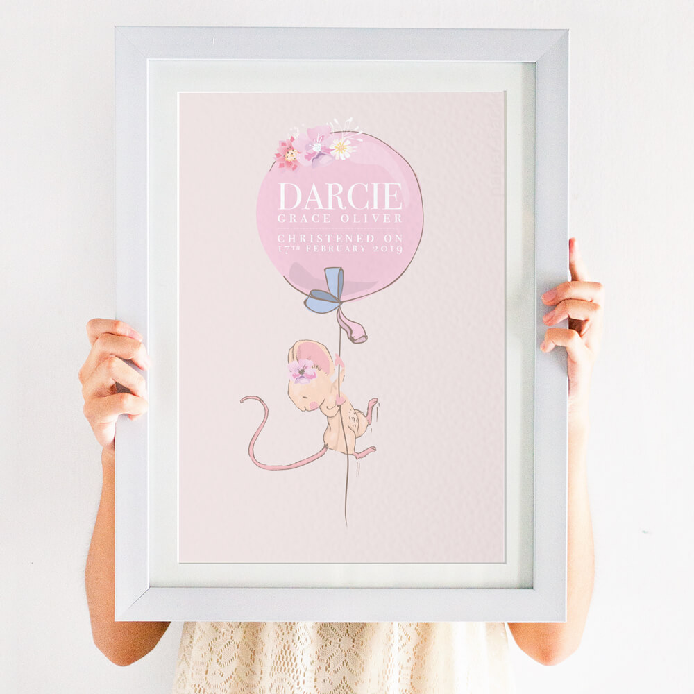 Personalised Girls Christening 'Balloon' Print