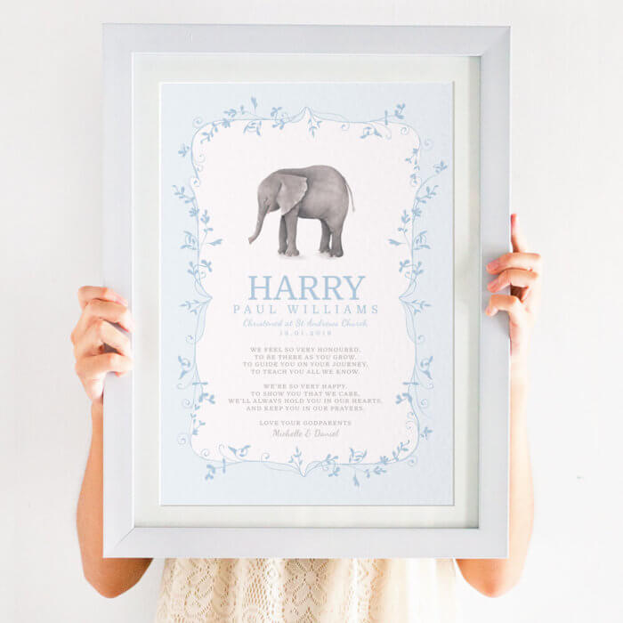 Personalised For Godson Christening Print