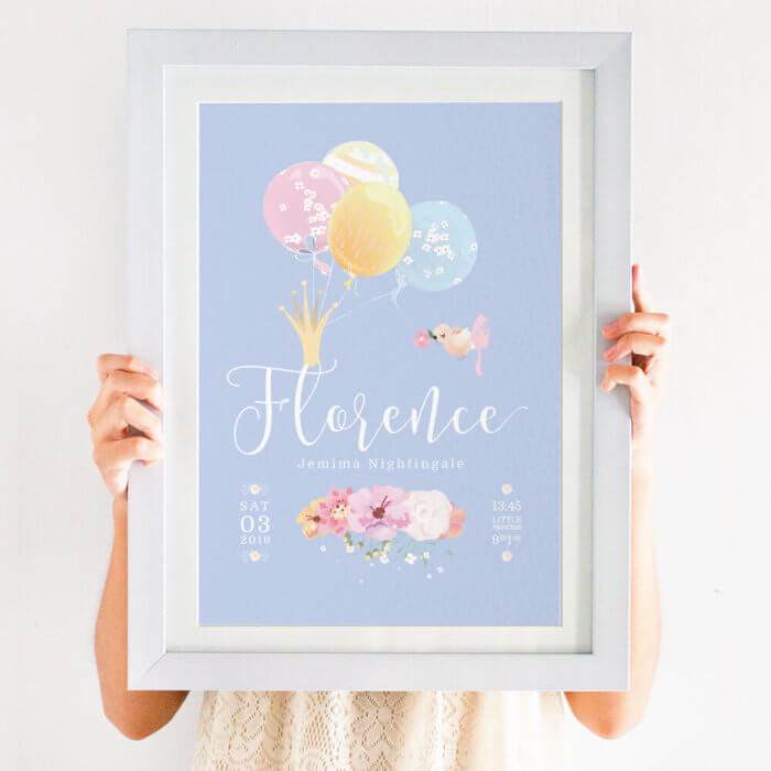 Personalised Pretty Floral Baby Girl Name Print