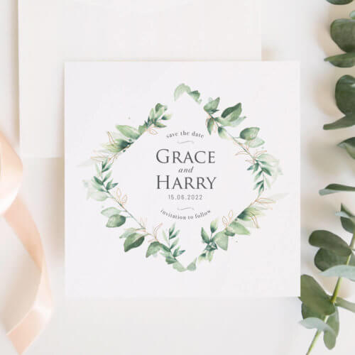 green foliage Save the Date