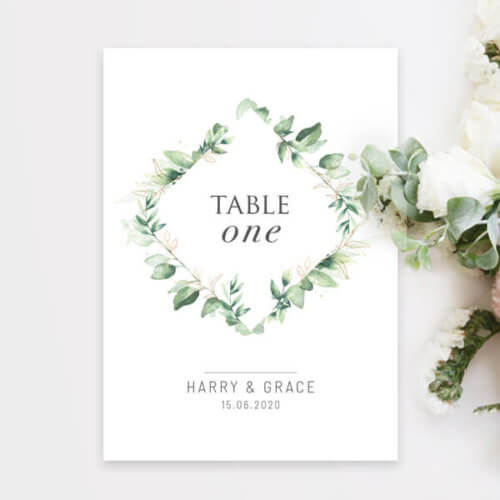 Green Foliage Table Number Cards